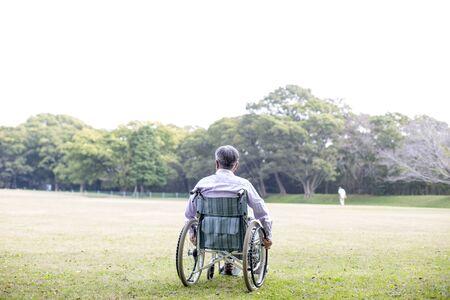 Old man in wheelchair, rear view Standard-Bild