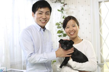 Japanese young couple and pet