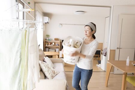 Japanese woman washing clothes