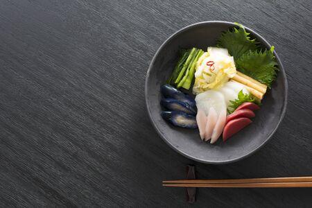 Cornichons, Cuisine japonaise Banque d'images