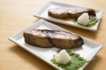 Japanese food, yellowtail teriyaki 스톡 콘텐츠
