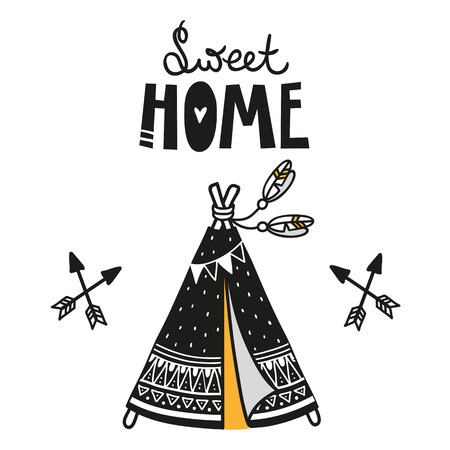 Wigwam poster for baby room, greeting card, print on the wall, pillow, decoration kids interior, baby wear and t-shirts Illustration