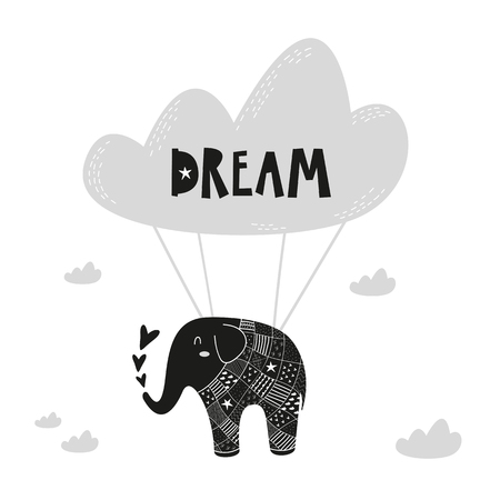 Flying elephant poster for baby room, greeting card, print on the wall, pillow, decoration kids, baby wear and t-shirts