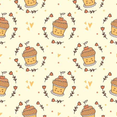 Cup cake cute pattern for kids, girls and boys. Illustration