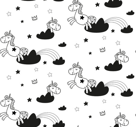 Unicorn cute pattern for kids, girls and boys. Иллюстрация