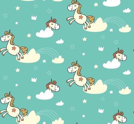 Unicorn cute pattern for kids, girls and boys. Illusztráció