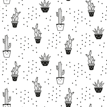 Cactus plant cute pattern for kids, girls and boys.