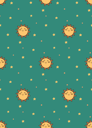 Sun and start  cute pattern for kids, girls and boys.