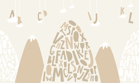 mountains with letters Vector illustration.