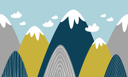 colored mountains Vector illustration. Иллюстрация