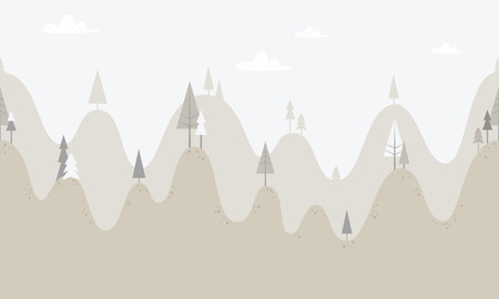 mountains with trees Vector illustration.