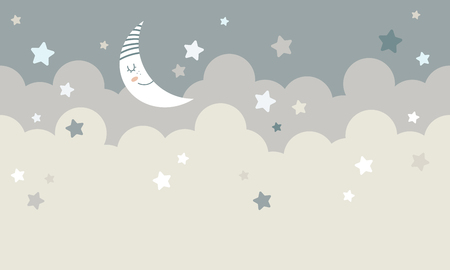 clouds with moon and stars graphic Vector illustration.