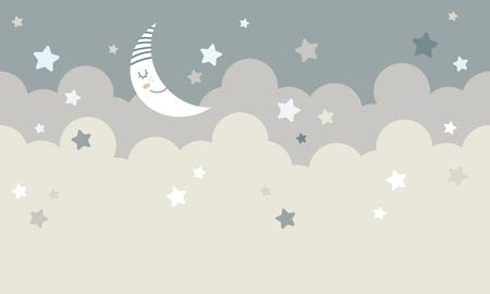 Wolken mit Mond- und Sterngraphik Vektorillustration.