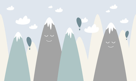 colored mountains with clouds and balloons Vector illustration.