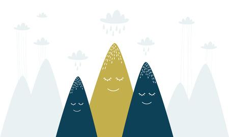 colored mountains with clouds Vector illustration. Illusztráció