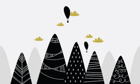 black mountains with clouds and balloons Vector illustration.