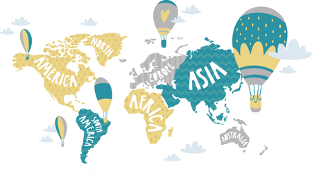 balloons on world map, Vector illustration.