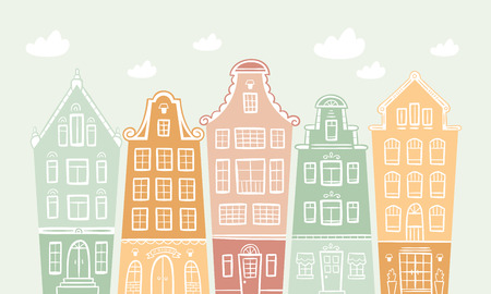 colored houses Vector illustration. Иллюстрация
