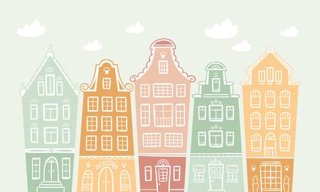 colored houses Vector illustration. Illusztráció