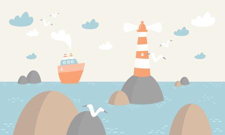 Ozeanszene mit Leuchtturm, Boot, Wolken und Vögeln Vector Illustration. Vektorgrafik