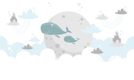whales underwater Vector illustration. Иллюстрация