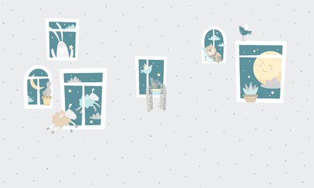 windows set on gray dotted background, Vector illustration.