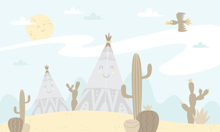 tents and cacti Vector illustration.