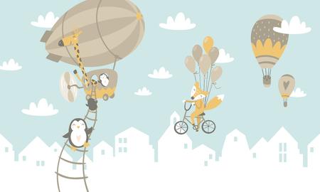 animals on balloons Vector illustration.  イラスト・ベクター素材