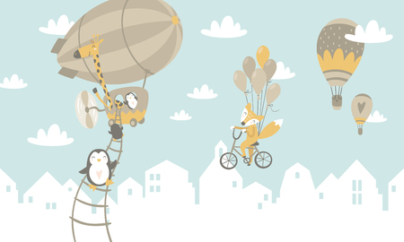 animals on balloons Vector illustration. Illustration
