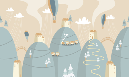 mountains with houses and trains, vector illustration.  イラスト・ベクター素材