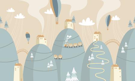 Montañas con casas y trenes, ilustración vectorial. Ilustración de vector