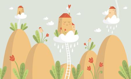mountains with plants and houses Vector illustration. Illusztráció