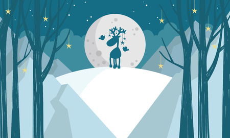 nature background with trees and deer Vector illustration. Иллюстрация