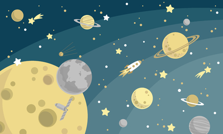space background with planets and stars Vector illustration.