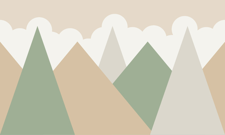 mountains and clouds vector illustration