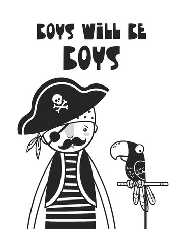 Cute pirate and parrot, poster for baby room, greeting card, print on the wall, pillow, decoration, baby clothes and t-shirts