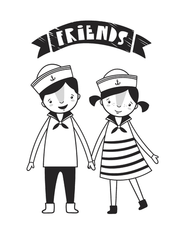 Cute boy and girl, poster for baby room, greeting card, print on the wall, pillow, decoration, baby clothes and t-shirts