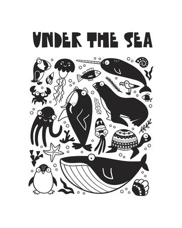 undersea world, poster for a baby room, greeting card, print on the wall, pillow, decoration, baby clothes and t-shirts