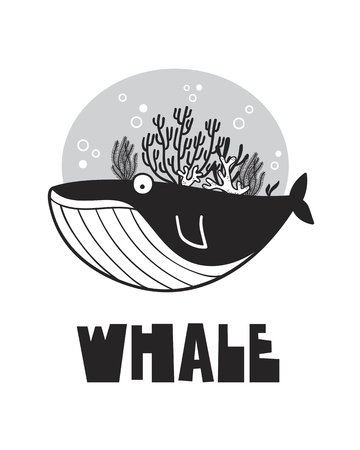 Cute whale, poster for baby room, greeting card, print on the wall, pillow, decoration, baby clothes and t-shirts