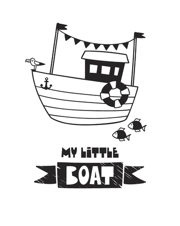 Cute boat, poster for a baby room, greeting card, print on the wall, pillow, decoration, baby clothes and t-shirts