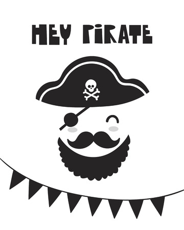 Cute pirate, poster for baby room, greeting card, print on the wall, pillow, decoration, baby clothes and t-shirts
