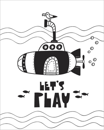 Cute Submarine, poster for baby room, greeting card, print on the wall, pillow, decoration, baby's clothes and t-shirts