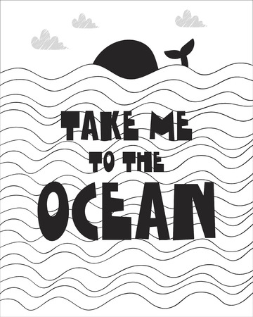 Cute poster of whale in sea  for baby room, greeting card, print on the wall, pillow, decoration kids interior, baby wear and t-shirts