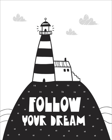Cute lighthouse, poster for baby room, greeting card, print on the wall, pillow, decoration, baby's clothes and t-shirts Иллюстрация