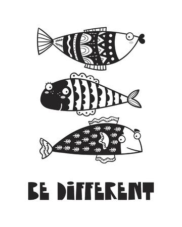 Cute fish, poster for baby room, greeting card, print on the wall, pillow, decoration kids, baby wear and t-shirts