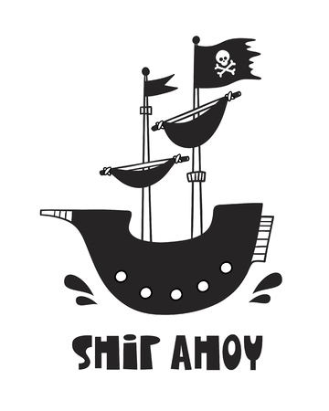 Cute pirate ship, poster for baby room, greeting card, print on the wall, pillow, decoration, baby clothes and t-shirts