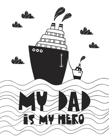 Cute poster with ship for baby room, greeting card, print on the wall, pillow, decoration kids interior, baby wear and t-shirts