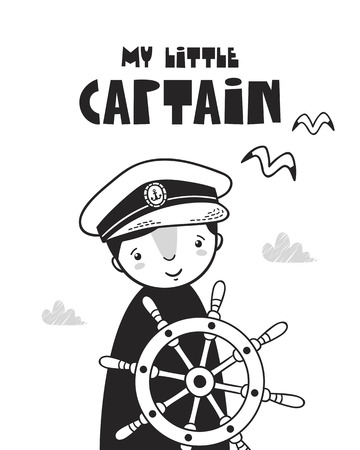 Cute little captain, poster for a baby room, greeting card, print on the wall, pillow, decoration, baby clothes and t-shirts Иллюстрация