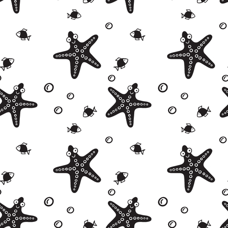 Pattern for kids, girls and boys. Vector illustration of star fish. Иллюстрация
