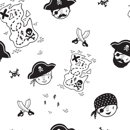 Pattern for kids, girls and boys. Vector illustration of kids pirates . Иллюстрация